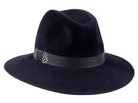 Midnight blue fur felt fedora for women with leather and feather band