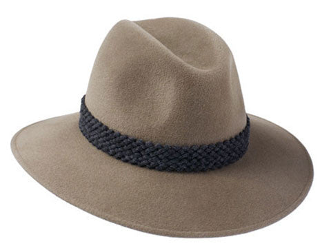 Womens wide brimmed fedora hat in mink fur felt with grey wool textured band