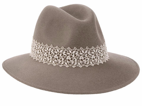 Willow Fedora Mink/ Cream Lace Band