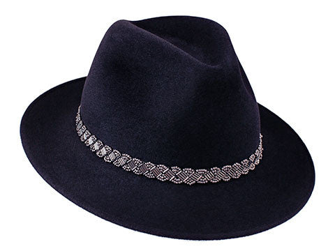 Amber Trilby Midnight Blue/ Silver Beaded Band
