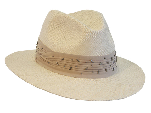 wide-brimmed panama hat