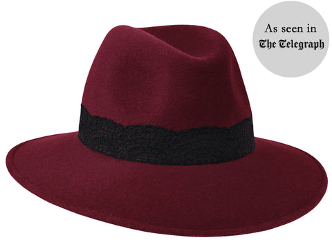 Willow Fedora Burgundy/ Black Lace Band