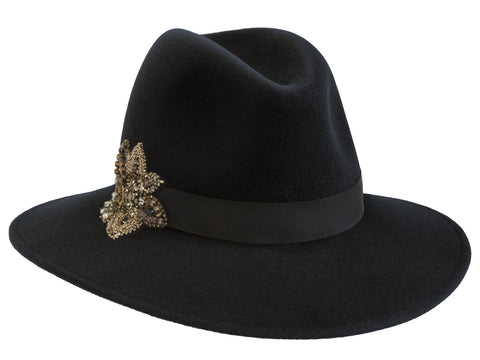 Willow Fedora Charcoal/ Black Ribbon with Embellished Motif