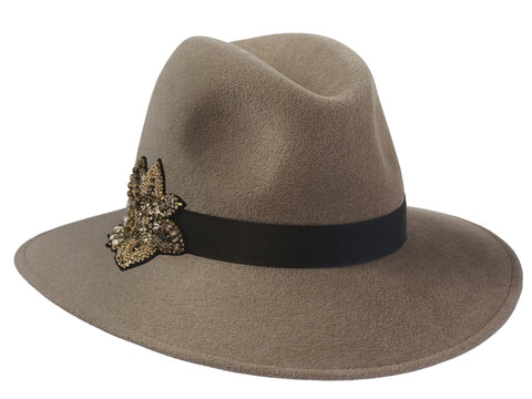 Womens wide brimmed fedora hat in mink fur felt with embellished motif