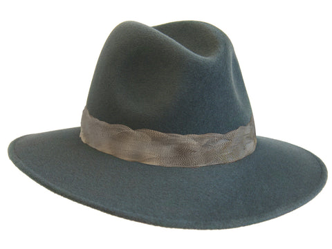 Ladies fedora hat in teal fur felt trimmed with a soft duck feather band