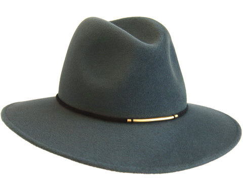 Teal fur felt fedora for women with rope band and metallic gold bead detail