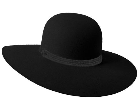 Ladies wide brimmed hat in black fur felt with grey rope band