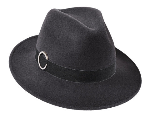 Amber Trilby Elephant Grey/ Chambray Grosgrain Ribbon & Silver Ring