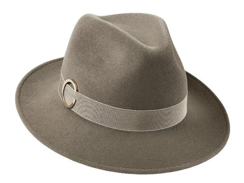 Ladies luxury trilby hat in mink with gold ring detail