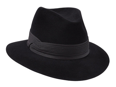 Womens black fur felt fedora hat with a black pleated band