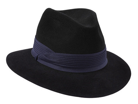 Womens black fur felt fedora hat with a navy pleated band