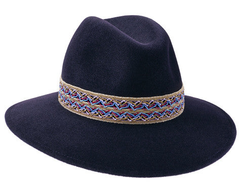 Willow Fedora Midnight Blue/ Gold Beaded Festival Band