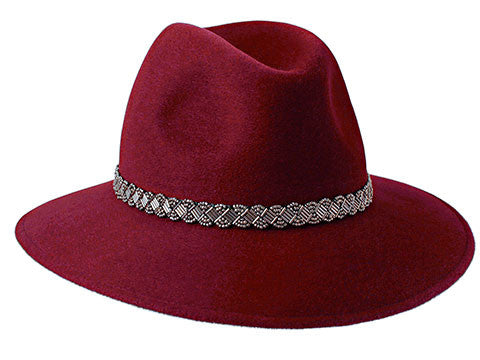 Willow Fedora Burgundy/ Silver Beaded Band