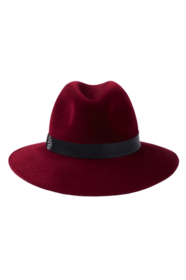 Womens wide brimmed fedora hat in burgundy fur felt with leather and feather band