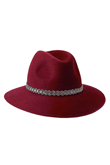 Ladies classic fedora style hat in burgundy with silver bead band