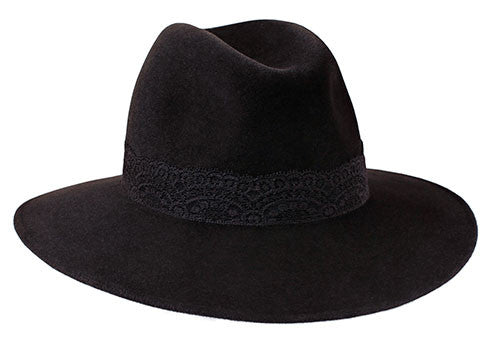 Ladies classic fedora style hat in black fur felt with black lace band