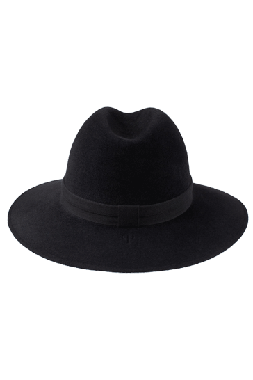 Fedora hat for women in charcoal with herringbone band
