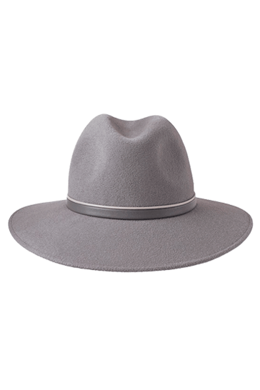 Ladies wide brimmed fedora hat in dove grey with handmade leather band