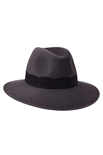 Ladies wide brimmed fedora hat in grey fur felt with black lace band