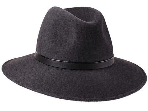 Ladies wide brimmed fedora hat in elephant grey with handmade black leather band