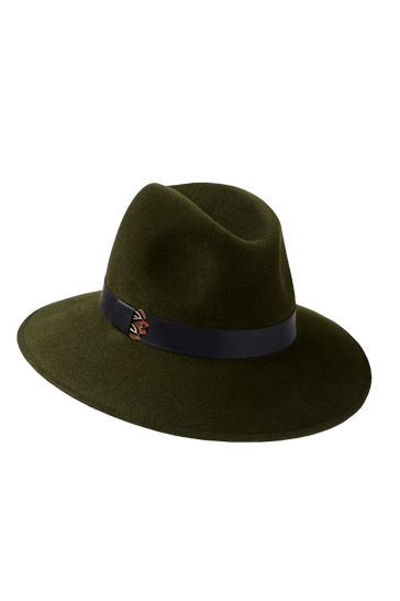 ladies designer fedora hat in green fur felt with leather and pheasant feather band