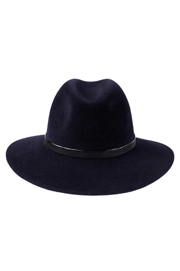 Ladies wide brimmed fedora hat in midnight blue with handmade black leather band
