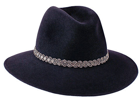 Ladies classic fedora style hat in midnight blue fur felt with silver bead band
