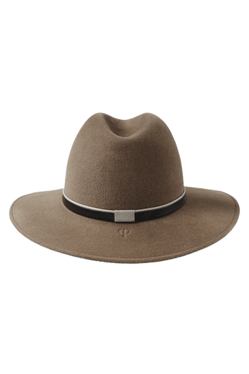 Ladies wide brimmed fedora hat in mink fur felt with handmade taupe leather band