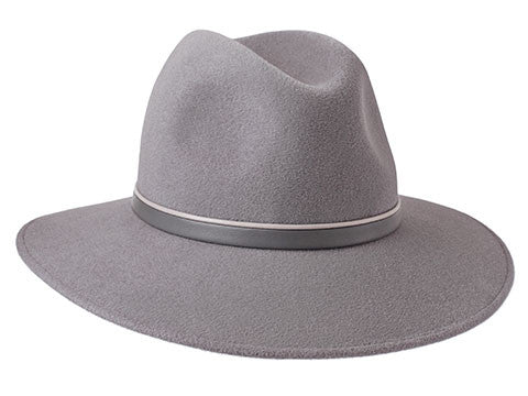 Willow Fedora Dove Grey/ Beige & Grey Leather Band