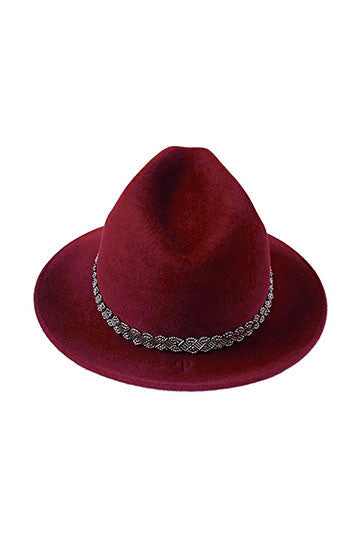 Ladies designer fur felt trilby hat in burgundy with silver bead band