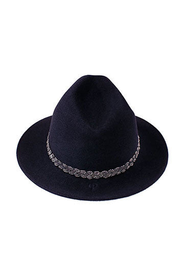 Ladies designer classic trilby hat in midnight blue with silver bead band