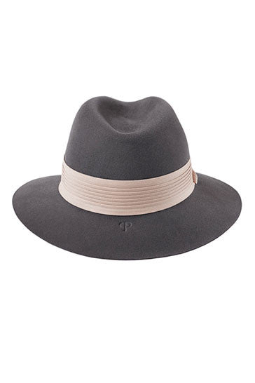 Womens grey fur felt fedora hat with a pink pleated band