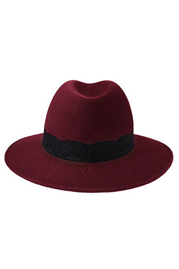 Ladies classic fedora style hat in burgundy fur felt with black lace band