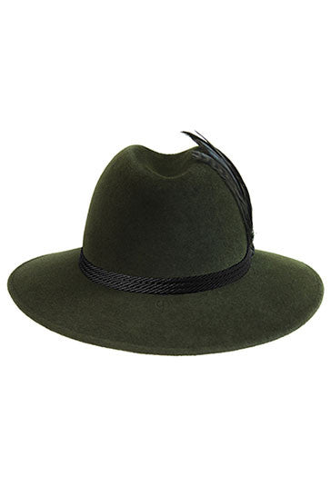 Wide brimmed fedora hat for women in green fur felt with oversize feather trim