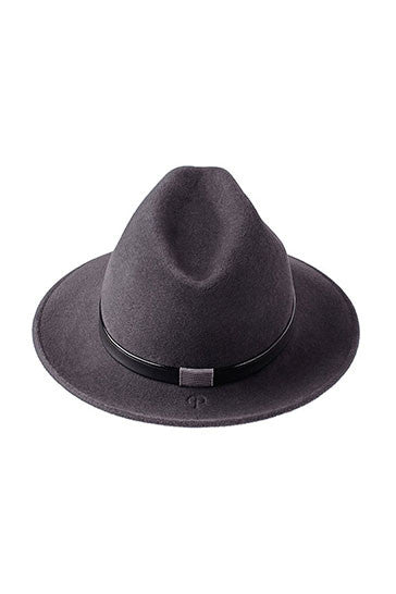 Luxury trilby hat in grey with patent and black leather band