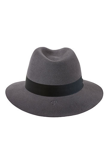Classic grey fedora style hat with a grey ribbon and white bead detail