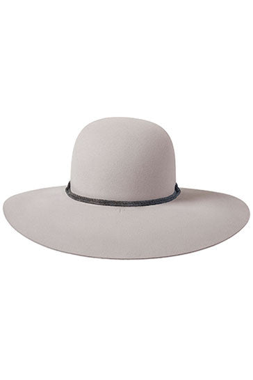 Ladies wide brimmed hat in stone fur felt with grey rope band
