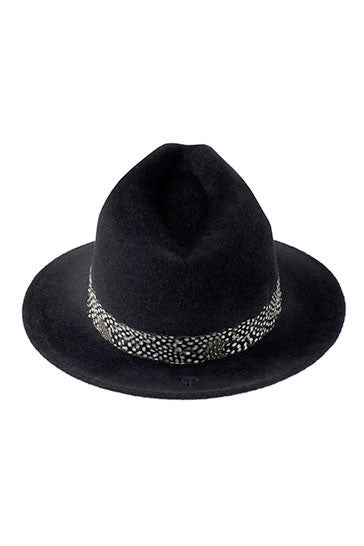 Ladies fur felt black trilby hat with a guinea fowl feather band