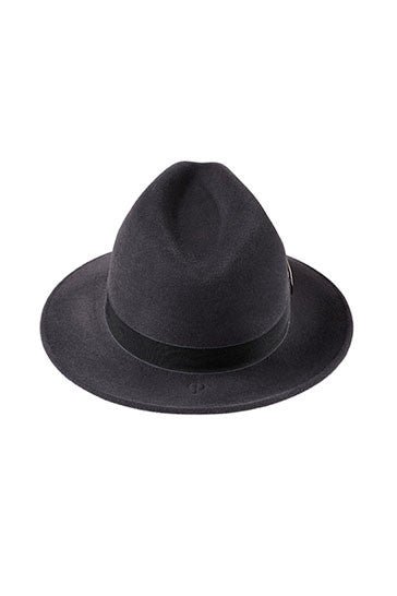 Ladies luxury trilby hat in grey with silver ring detail
