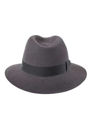 Classic ladies fedora style hat in grey with a charcoal grey grosgrain ribbon