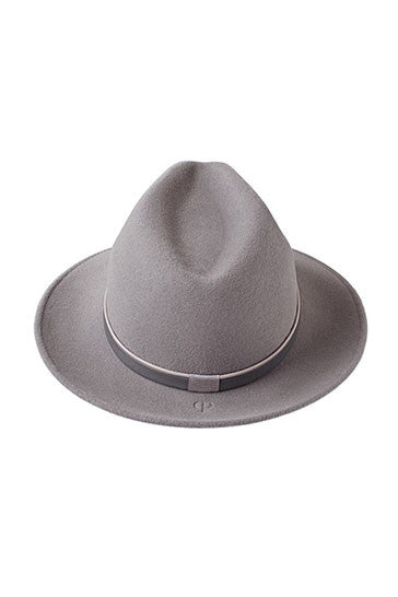 Luxury grey fur felt trilby hat for women with grey leather band