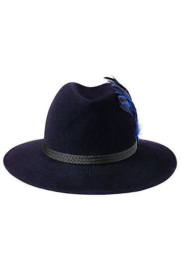Womens wide brimmed fedora hat in midnight blue with oversized blue feather