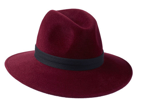 Ladies classic fedora style hat in burgundy with herringbone band