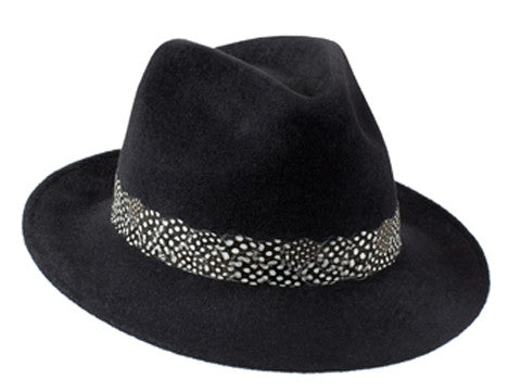 Amber Trilby Charcoal Black/ Guinea Fowl Feather Band