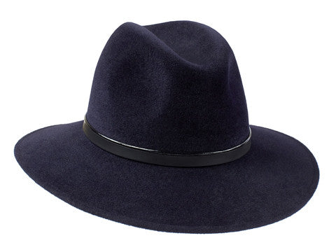 Willow Fedora Midnight Blue/ Patent & Black Leather Band