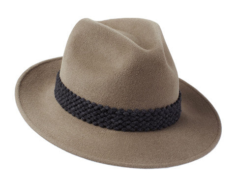 Ladies designer trilby hat in mink with grey textured band