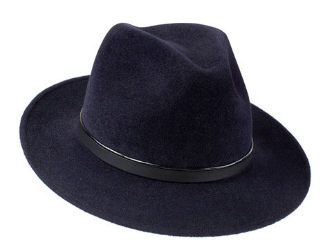 Amber Trilby Midnight Blue/ Patent & Black Leather Band