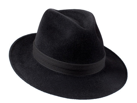 Amber Trilby Charcoal Black/ Double Black Herringbone Band