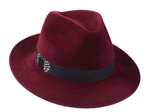 Ladies designer classic trilby hat in burgundy with leather and feather band