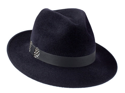 Ladies designer classic trilby hat in navy blue with leather and feather band